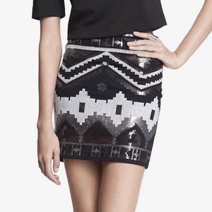 Express Aztec Sequined Mini Skirt
